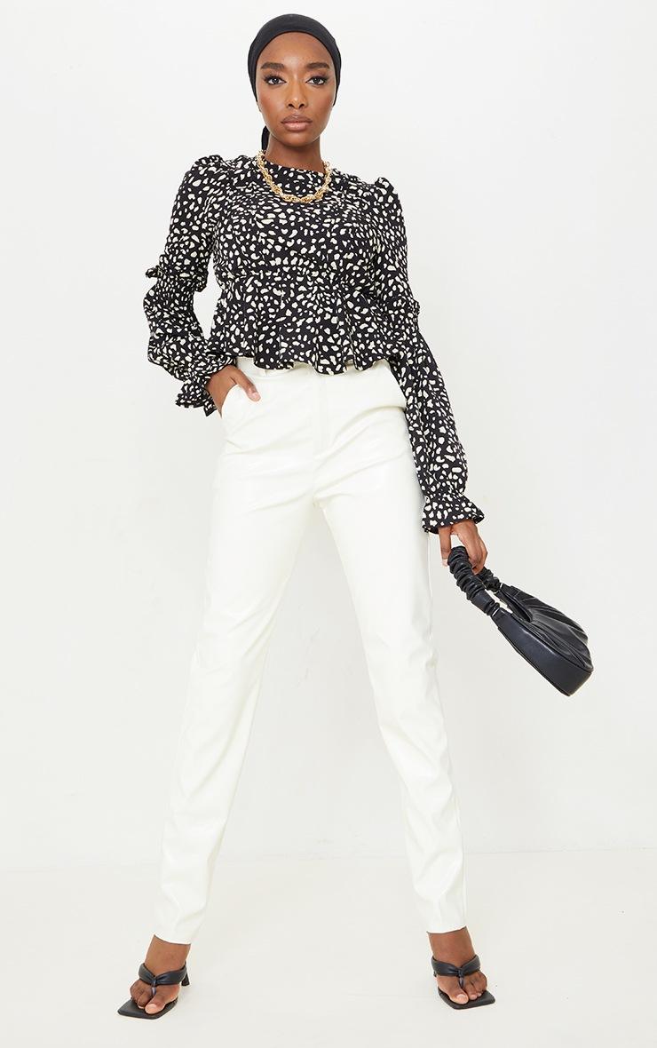 Black Leopard Binding Puff Sleeve Peplum Top 3