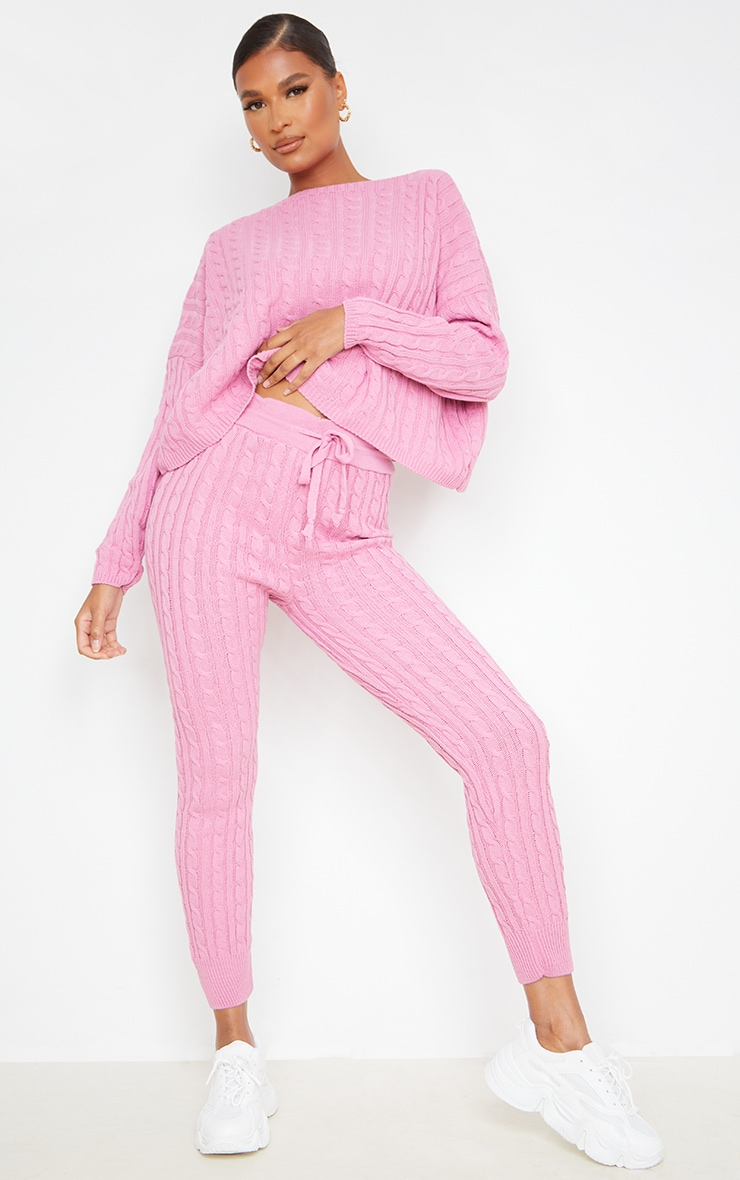 Dusty Pink Cable Knit Sweater & Legging Set 3