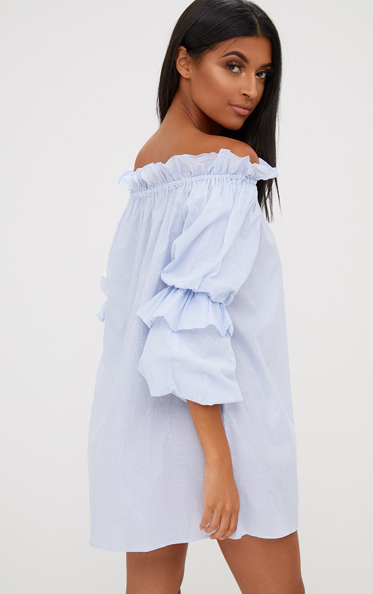 Blue Striped Frill Sleeve Detail Shift Dress 2