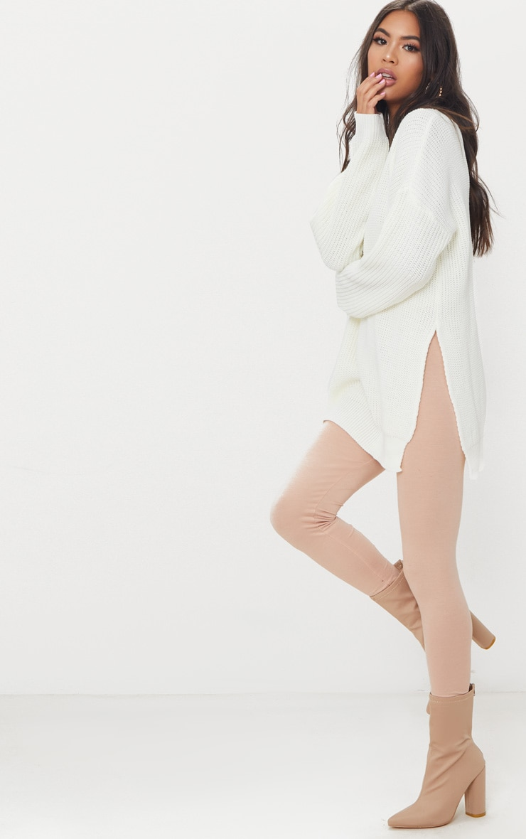 Rexx Cream Round Neck Side Split Sweater 4