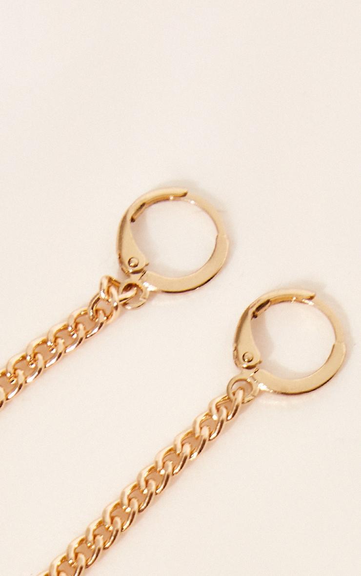 Gold Dainty T Bar Tassel Hoop Earrings 2