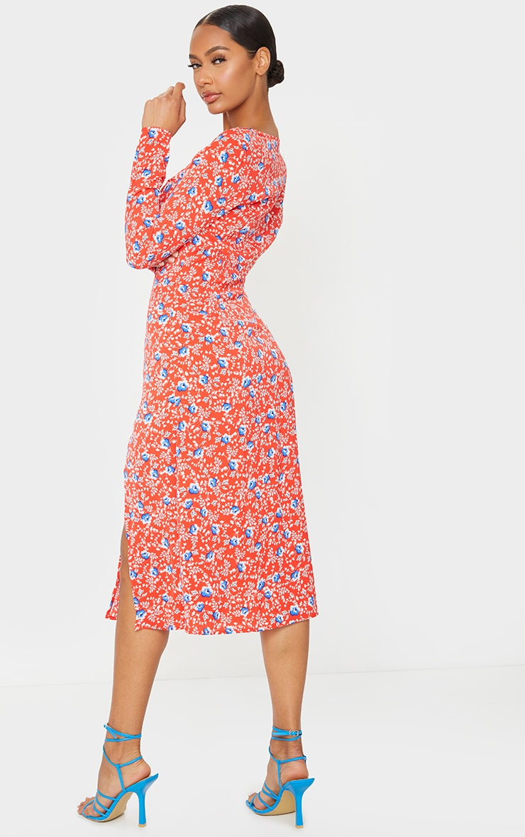 Red Floral Cup Detail Split Midi Dress 2