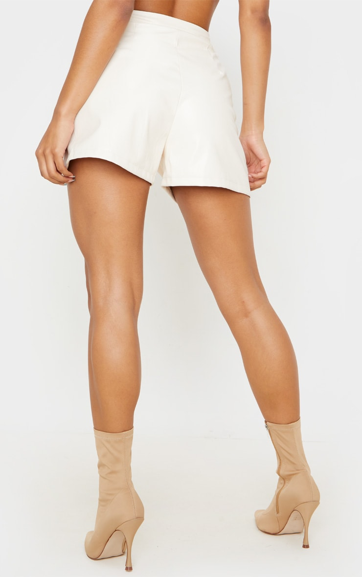 Cream Faux Leather Tailored Shorts 4