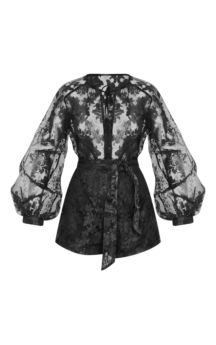 Black Delicate Lace Long Sleeve Tie Neck Playsuit 4