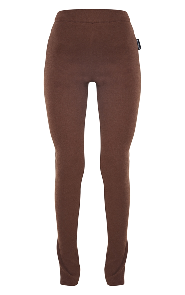 PRETTYLITTLETHING Chocolate Ribbed Zip Split Hem Leggings 5