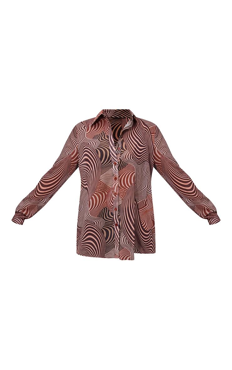 Chocolate Geometric Print Chiffon Oversized Shirt 5