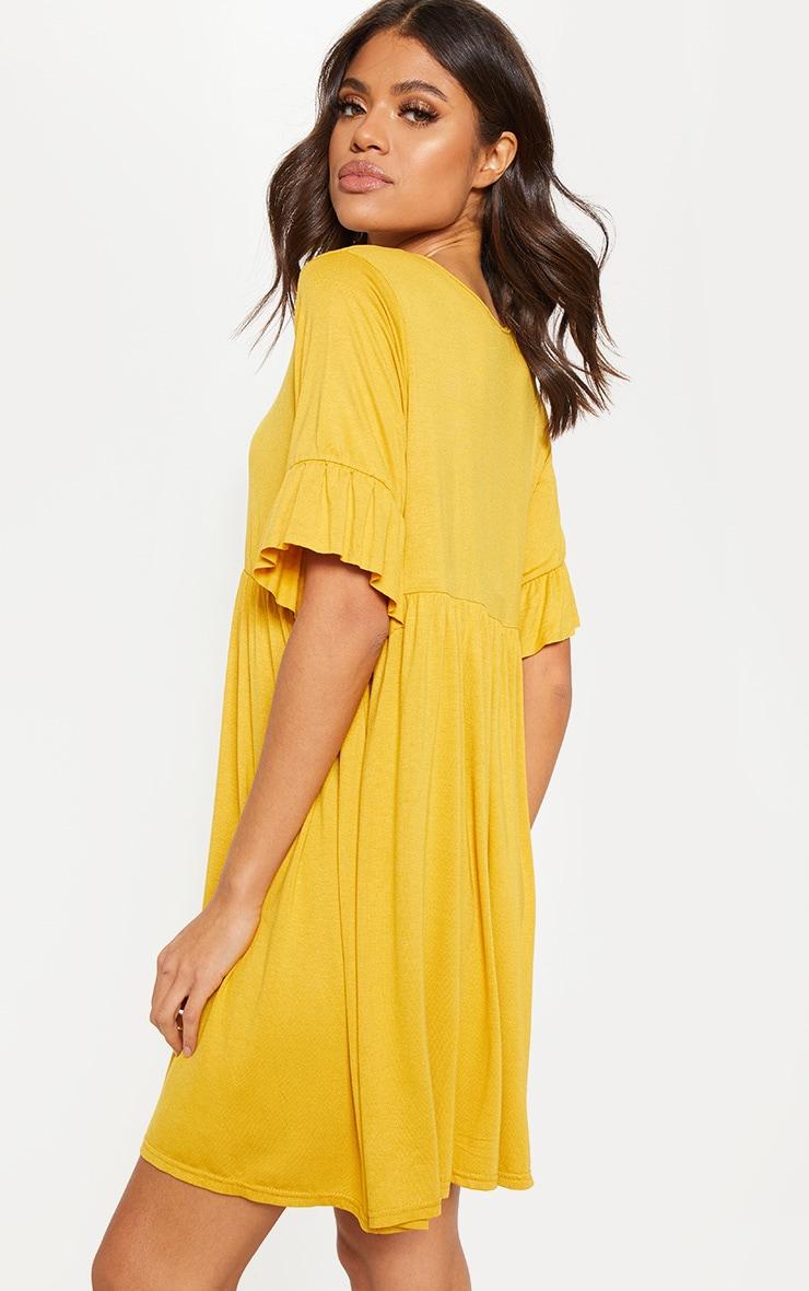 Mustard Short Sleeve Smock Dress 2
