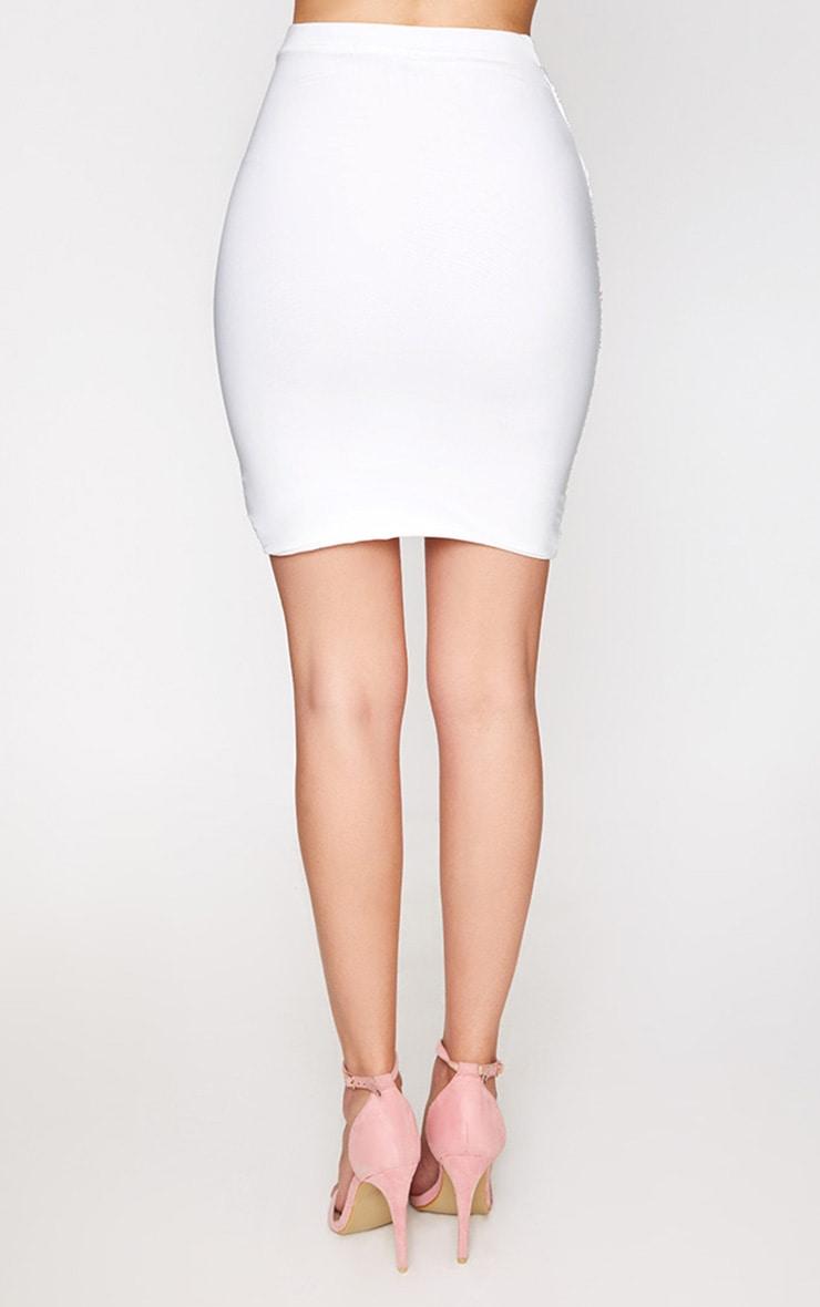 Cream Ruched Layered Slinky Mini Skirt 4