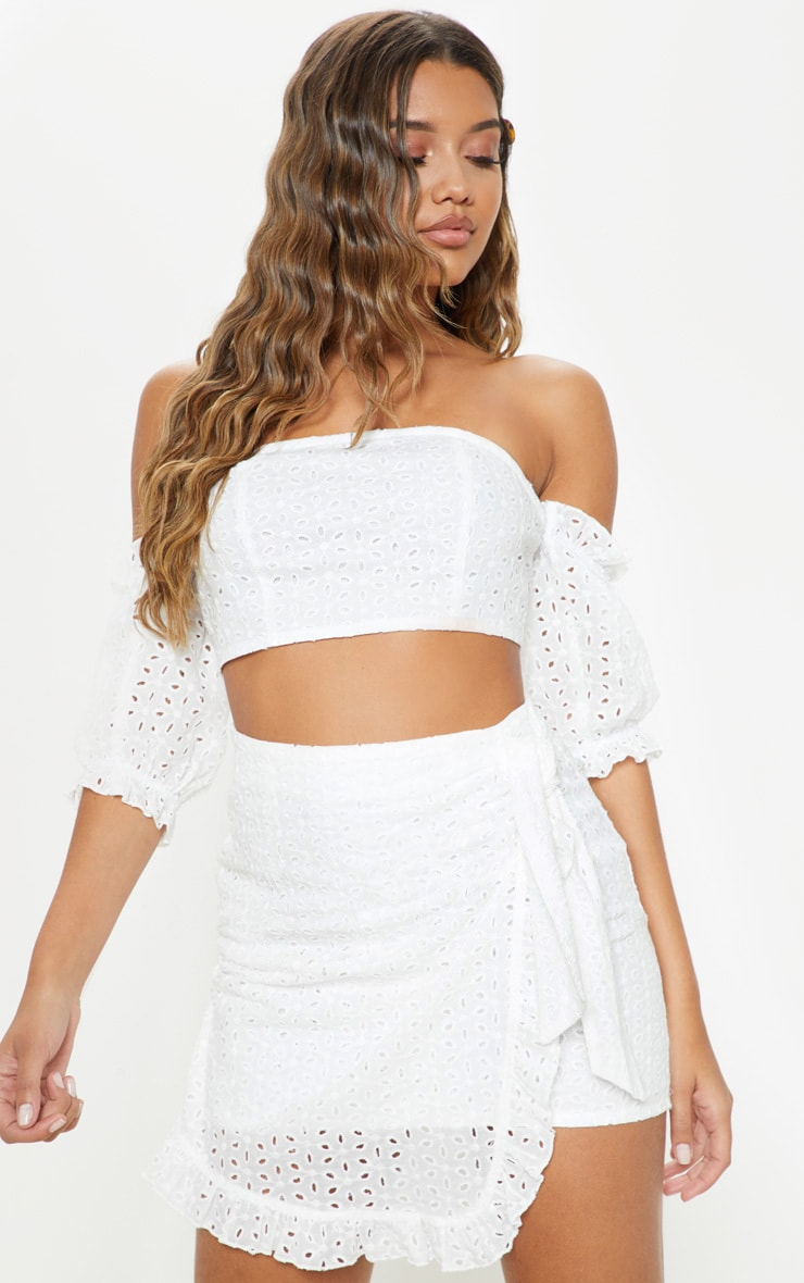 White Broderie Anglaise Bardot Tie Back Crop Top 1