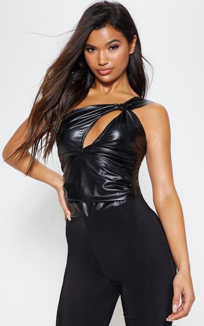 2f471d59f6 Black Faux Leather One Shoulder Bodysuit