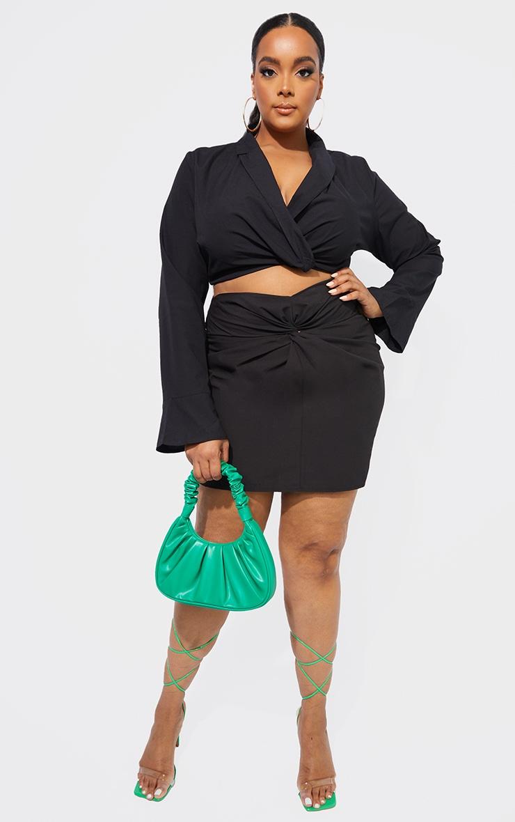 Plus Black Knot Front Skirt 1