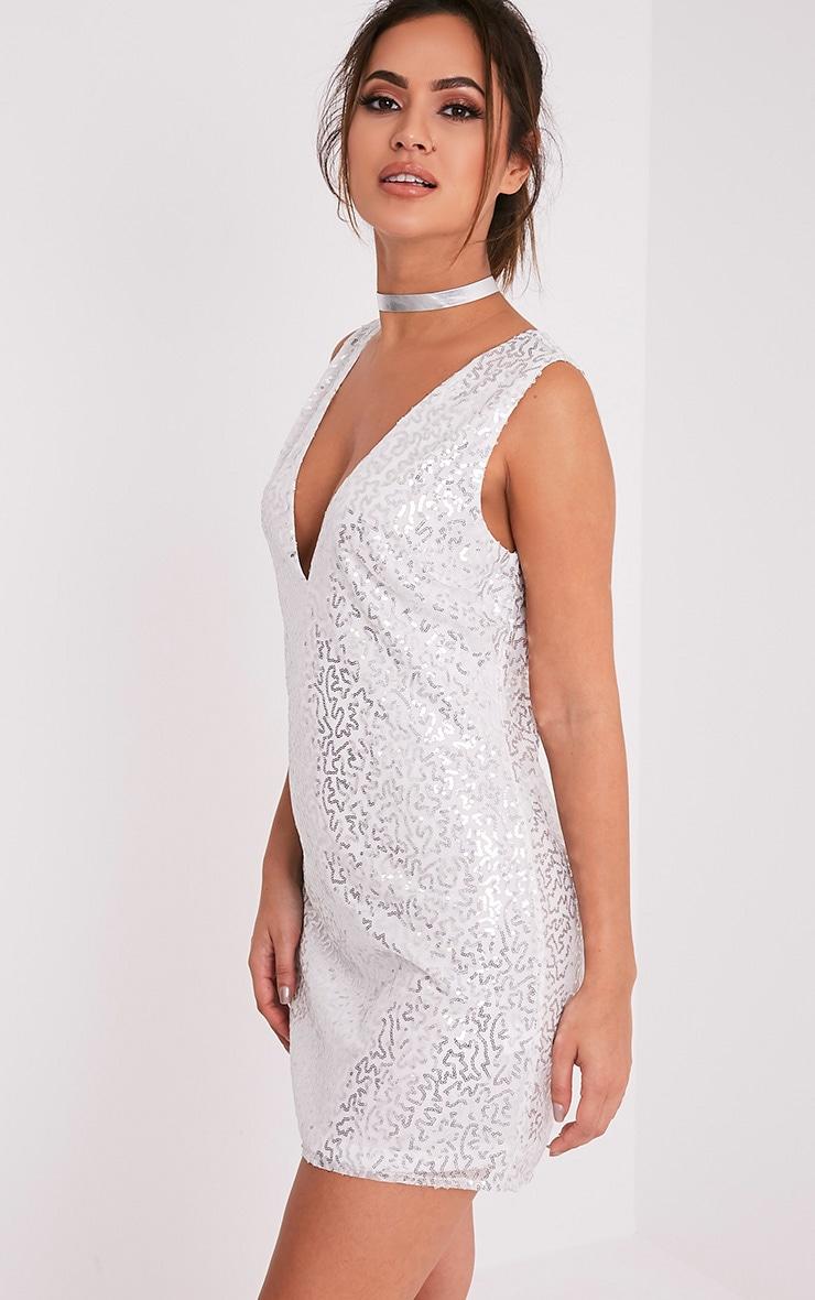 Piah Silver Plunge V Neck Sequin Shift Dress Dresses
