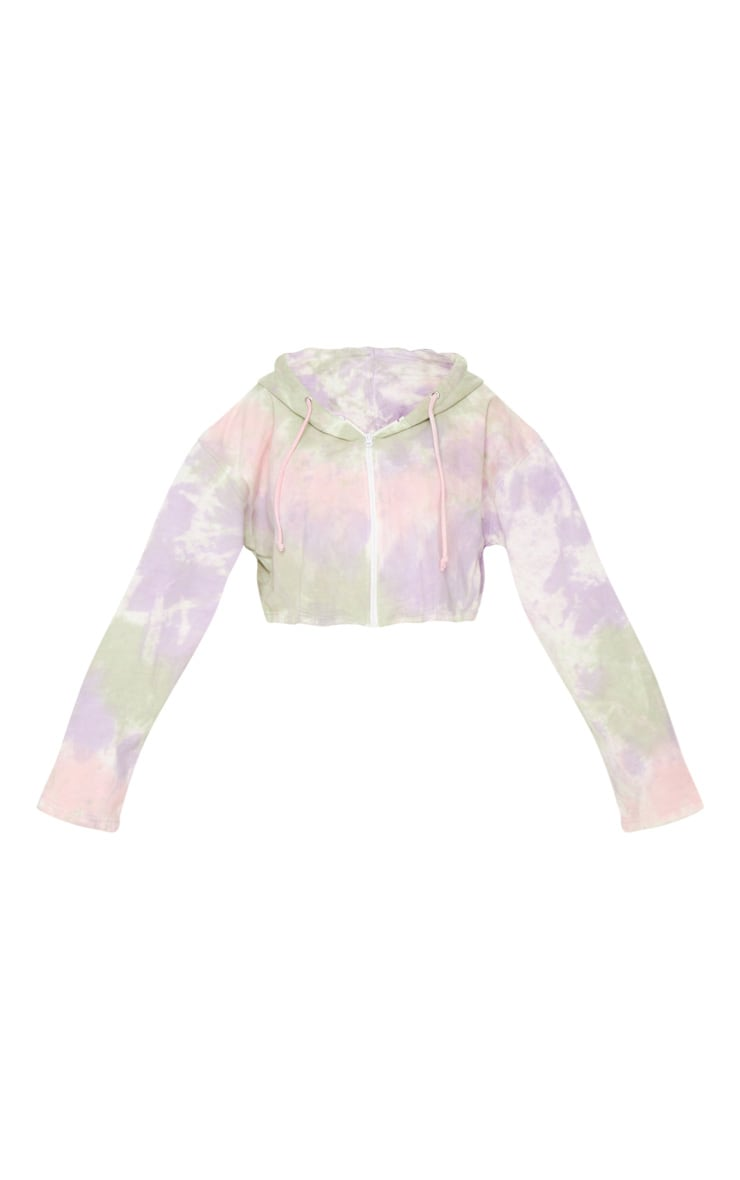 Sage Green Multi Tie Dye Zip Through Cropped Hoodie 6