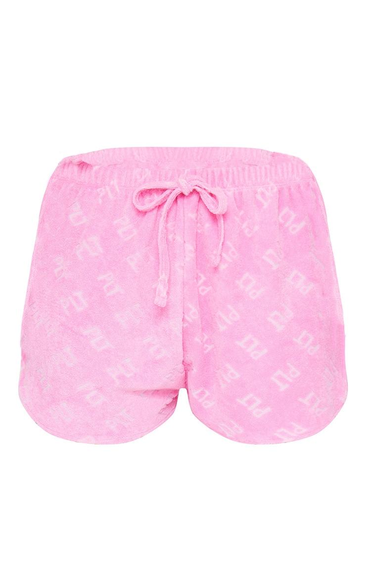 PRETTYLITTLETHING Pink Towel Beach Shorts 6