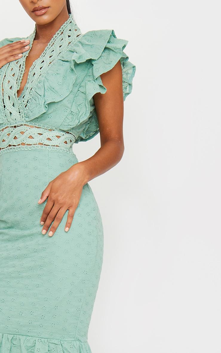 Sage Green Broderie Anglaise Trim Detail Midi Dress 4