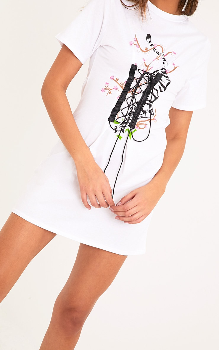 Tiger Print White Corset T Shirt Dress  5