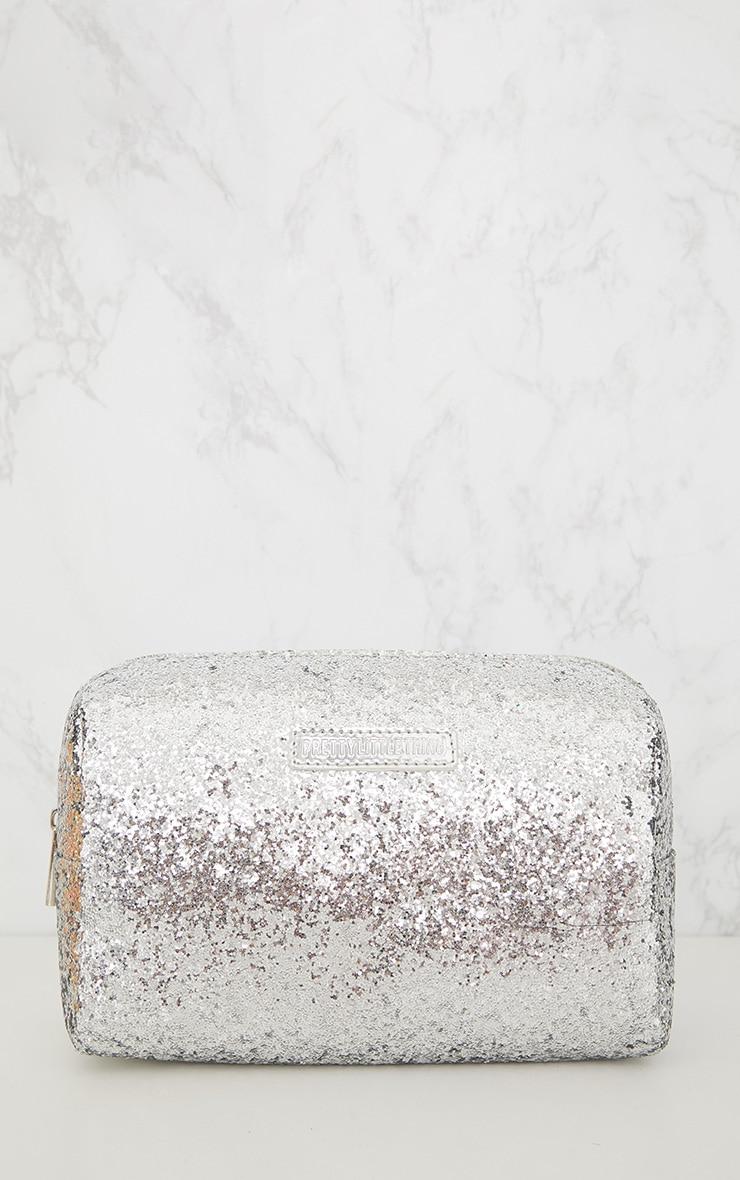 PRETTYLITTLETHING Silver Glitter Make Up Bag 4
