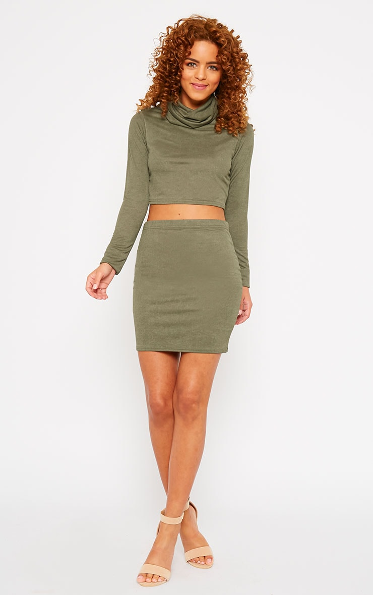 Emilia Khaki Crepe Roll Neck Crop Top  5