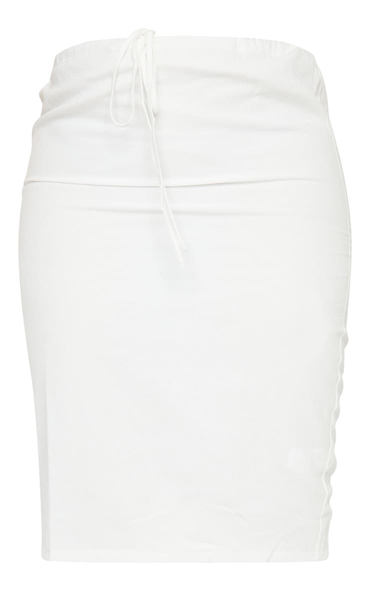 Plus White Woven Tie Waist Midi Skirt 5