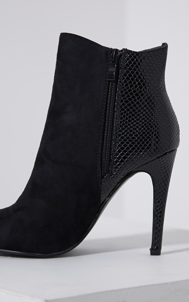 Neve Black Faux Suede Pointed Croc Heel Boots 6