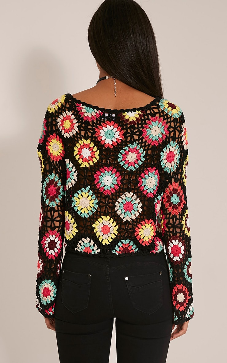 Anthia Black Patchwork Bell Sleeve Crochet Knitted Top 2