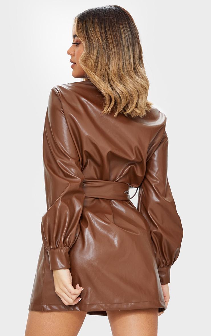 Chocolate Faux Leather Pocket Detail Shirt Dress 2