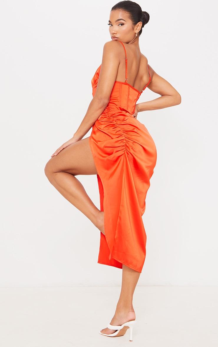 Burnt Orange Satin Strappy Drape Detail Corset Midi Dress 2