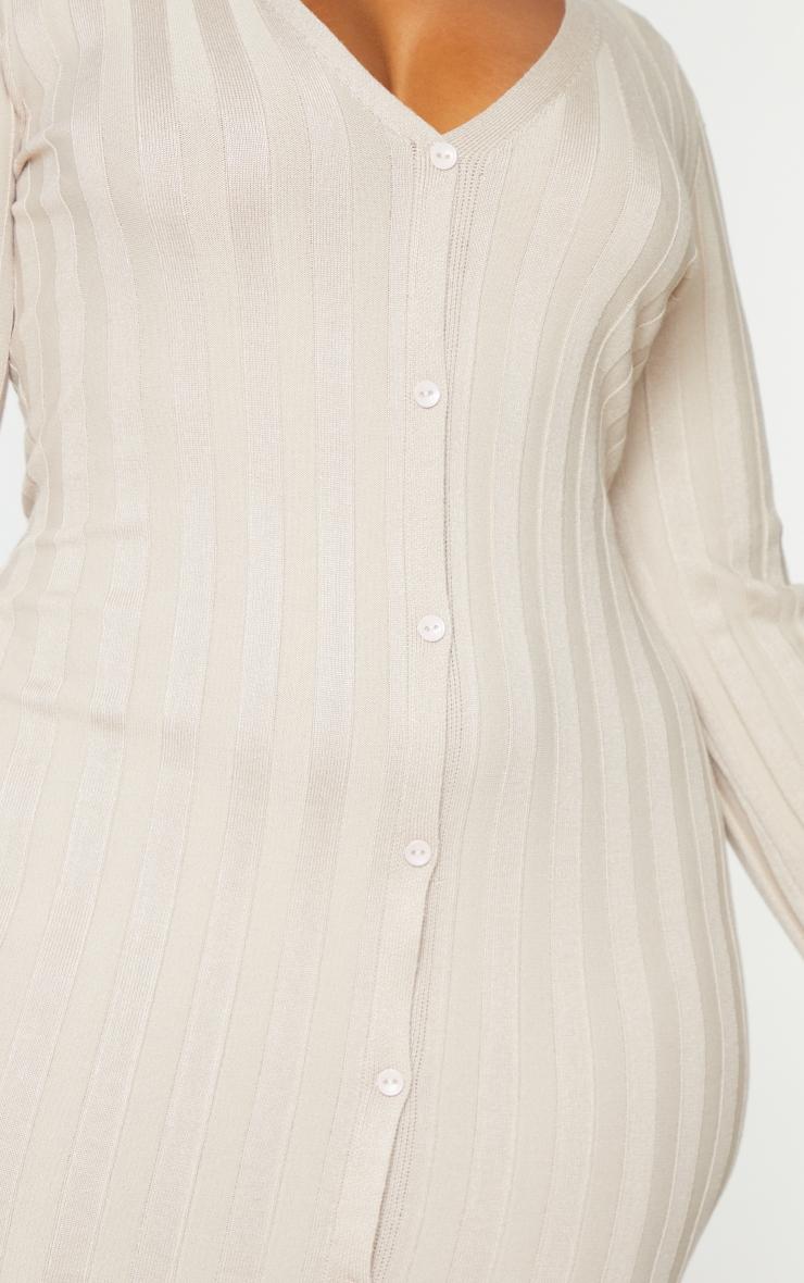 Plus Stone Rib Knitted Longsleeve Midaxi Dress 4