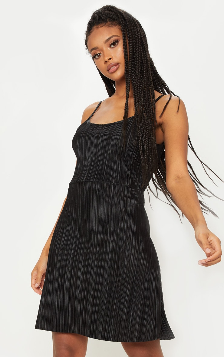 Black Plisse Cami Shift Dress