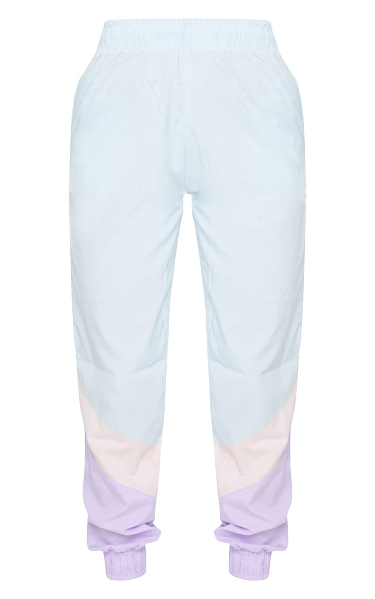 Blue Contrast Panel Peached Joggers 5