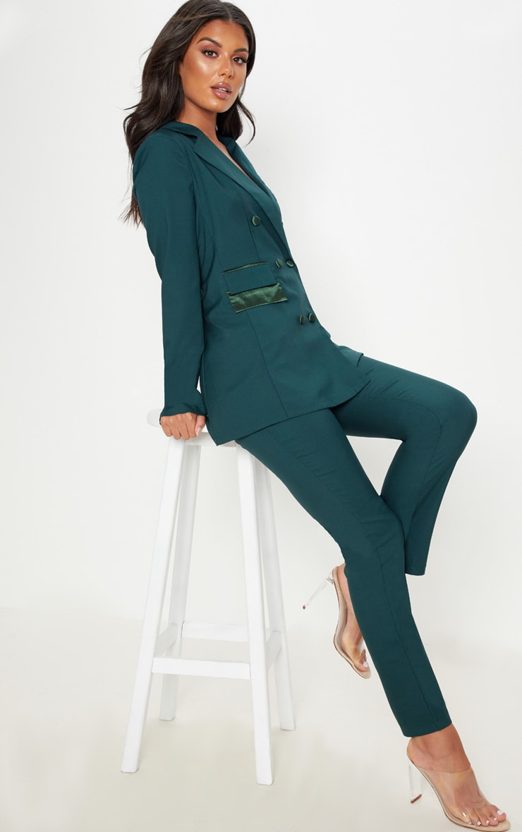Dark Green Triple Breasted Oversized Blazer 4