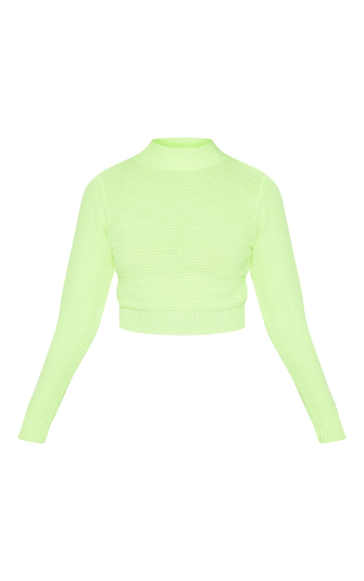 Neon Lime Ribbed Cropped Knitted Jumper  3