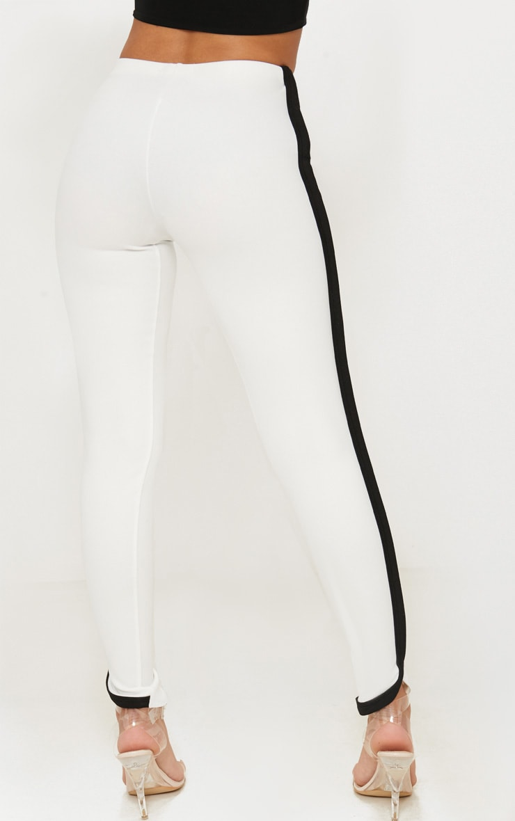 Petite White Contrast Skinny Trousers 3