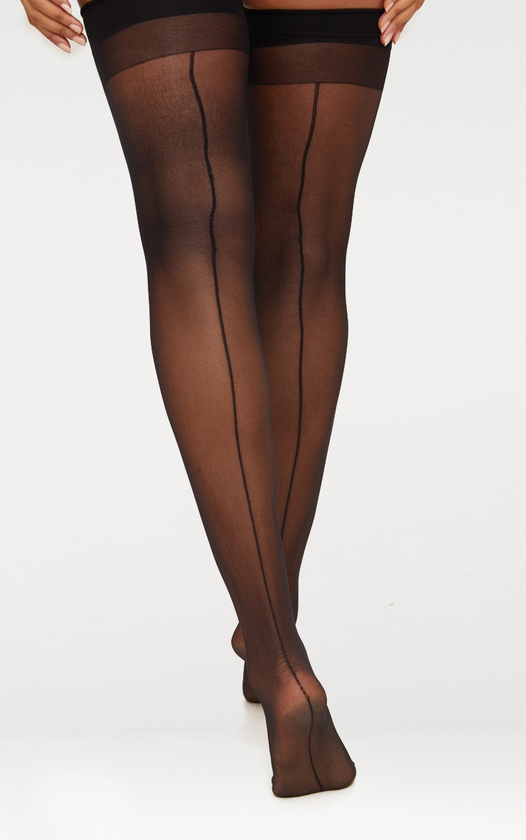 Black Sheer Hold Up Stockings 4