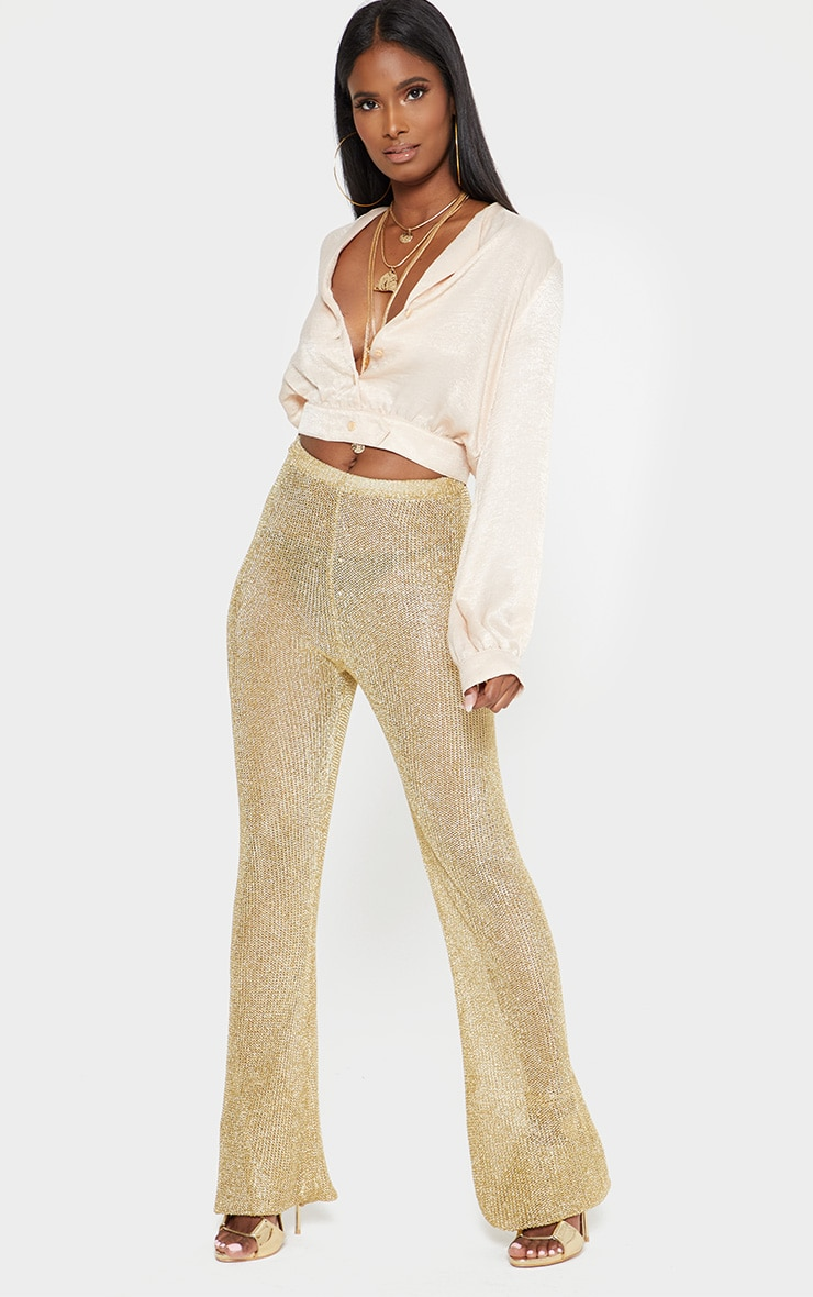 champagne Satin Button Front Crop Shirt 4