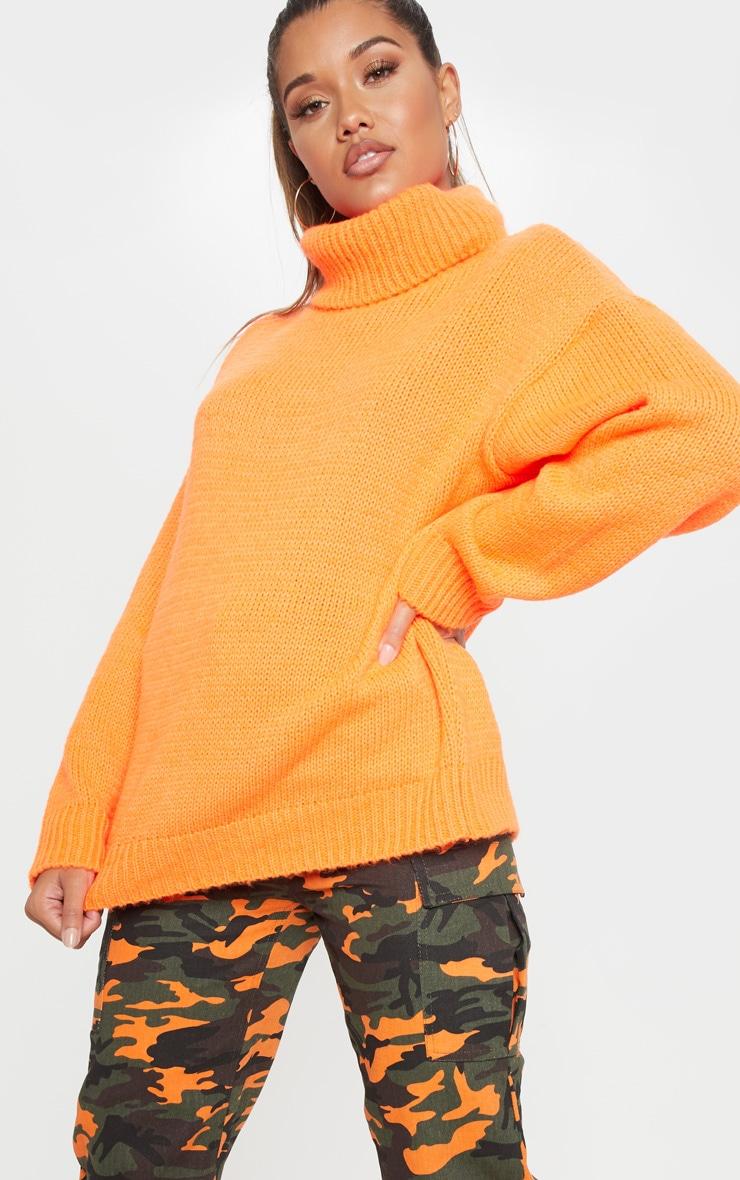 Bright Orange High Neck Fluffy Knit Jumper  1
