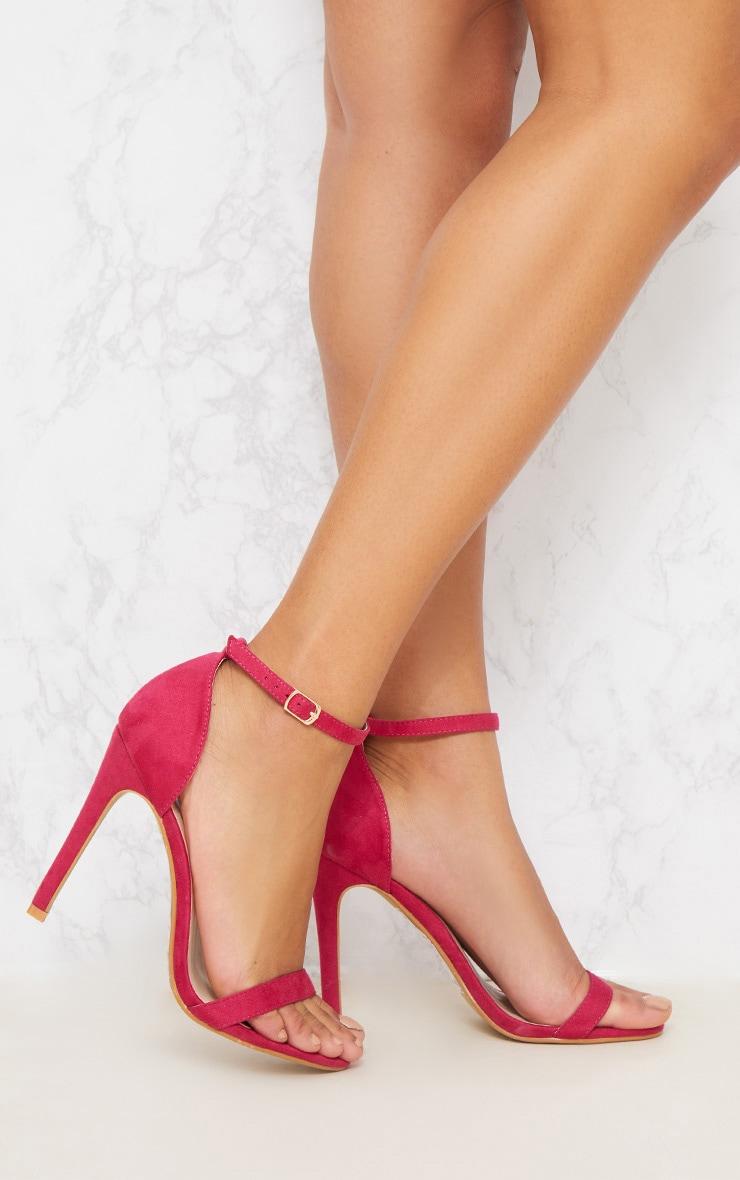 Fuschia Heeled Strappy Sandal 1