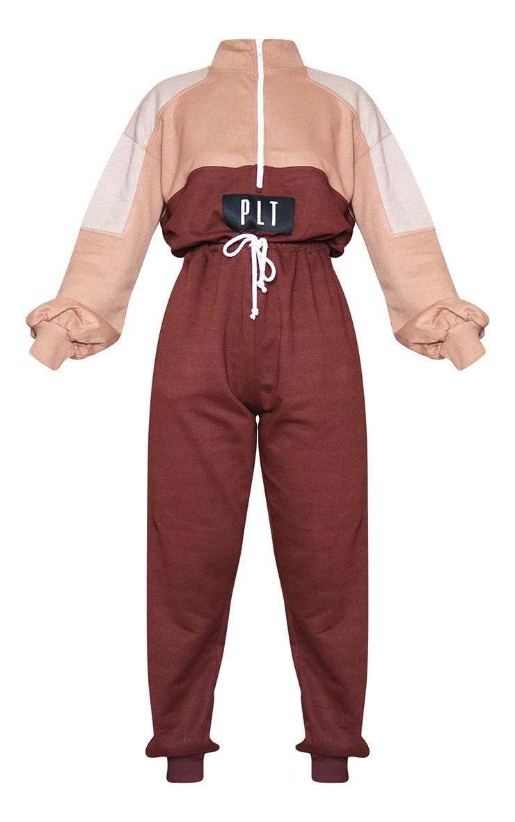 PRETTYLITTLETHING Chocolate Colour Block Zip Sweat Jumpsuit 5