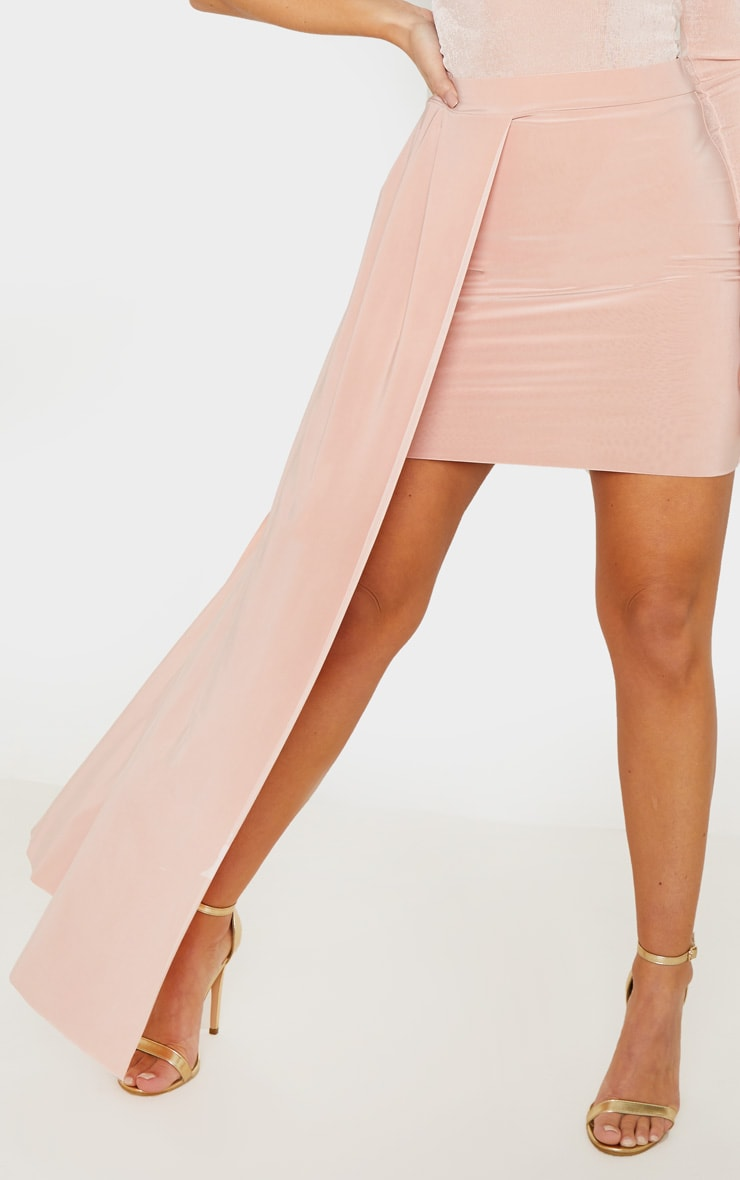 Dusty Pink Slinky Drape Detail Mini Skirt  6