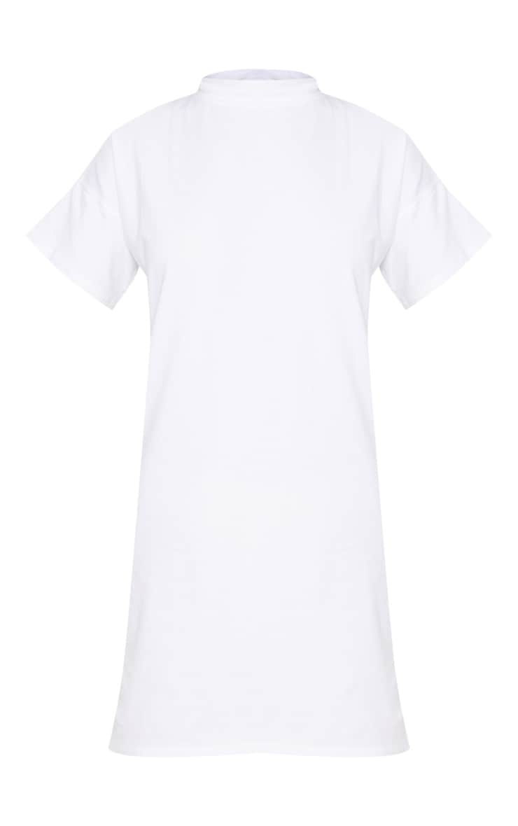 White High Neck Oversized T Shirt Dress 3