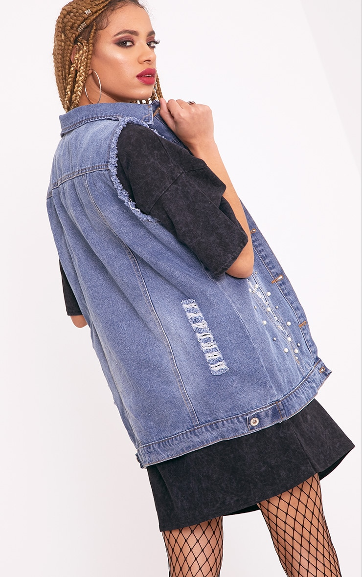 Mirriann Pearl Stud Mix Mid Wash Denim Sleeveless Jacket 2
