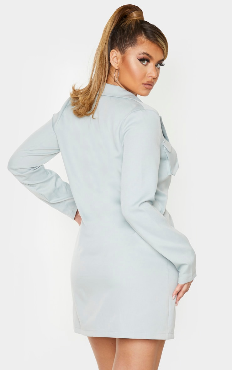 Mint Utility Pocket Detail Long Sleeve Blazer Dress 3