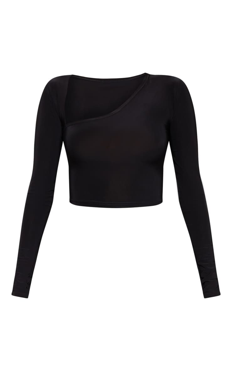 Black Slinky Asymmetric Long Sleeve Crop Top 3