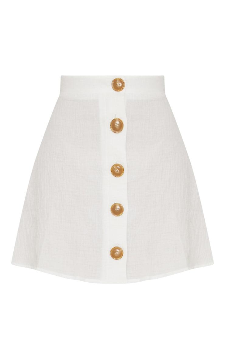 Cream Button Front Linen Feel Mini Skirt 3