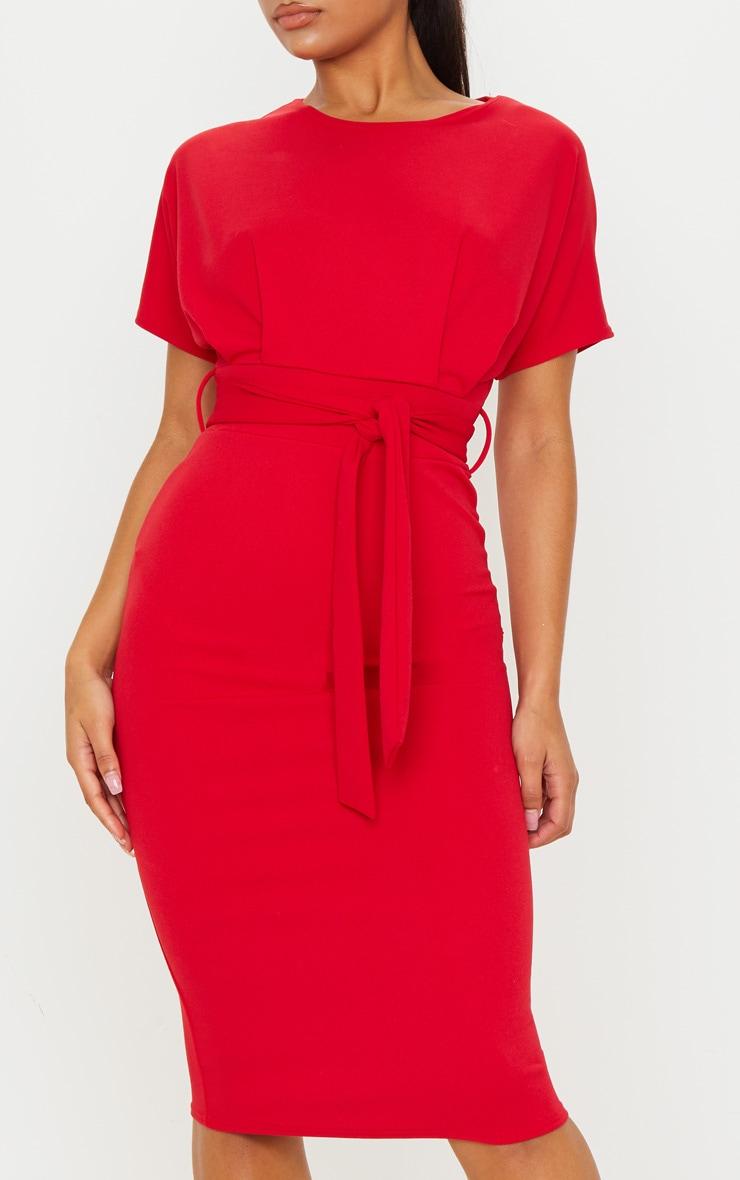 Red Short Sleeve Tie Waist Midi Dress 5