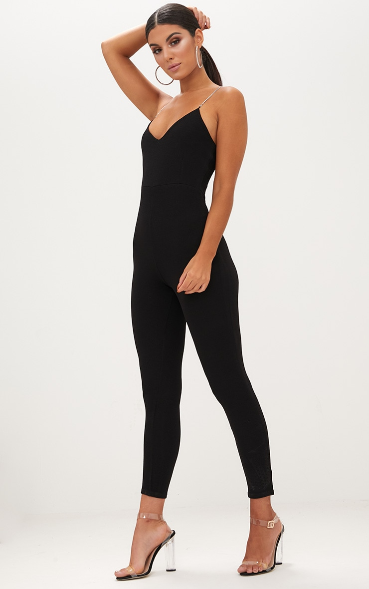 Black Diamante Strap Jumpsuit 4