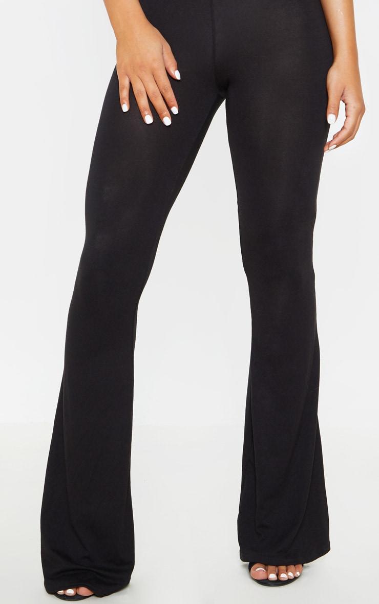 Petite Basic Black Jersey Wide Leg Flares  5