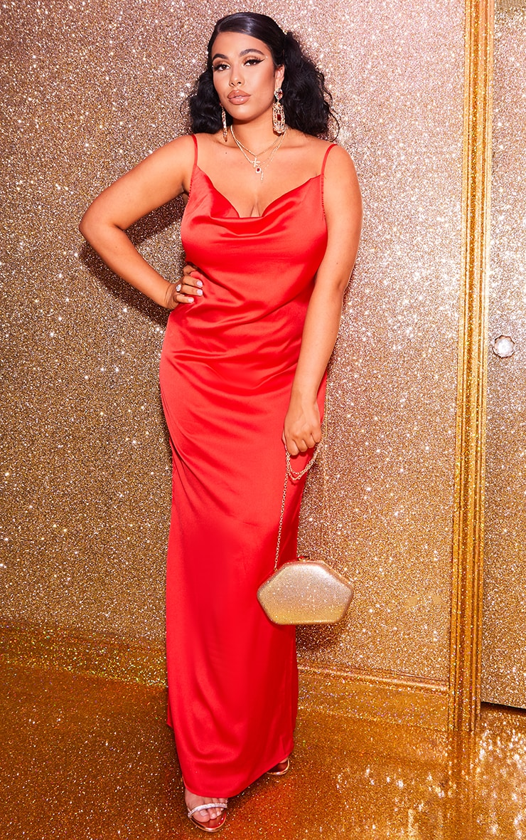 Plus Scarlet Cowl Maxi Dress 1