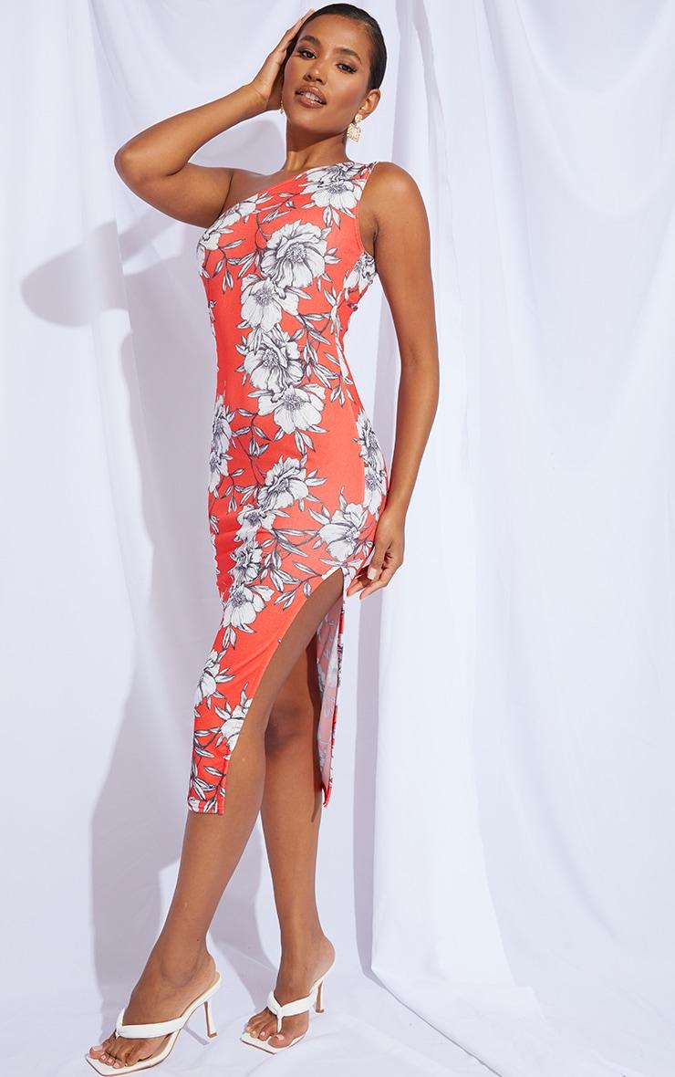 Red Floral Print One Shoulder Split Detail Midi Dress 1