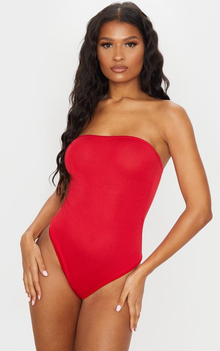 Basic Red Bandeau Bodysuit 2